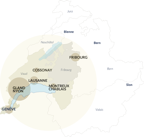 Carte de regions - Gland-Nyon